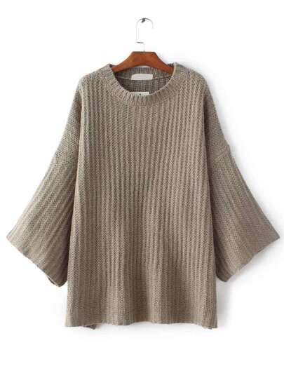 Camel Drop Shoulder Slouchy Sweater