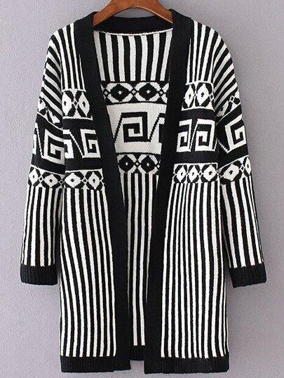 Black Striped Drop Shoulder Long Cardigan