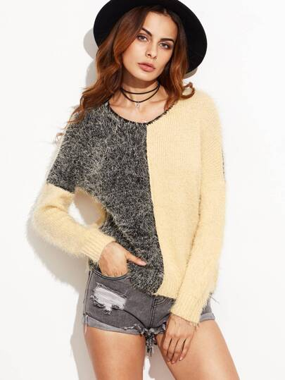 Color Block V Neck Drop Shoulder Shaggy Sweater