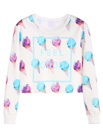 White Ice Cream Print Crop Sweatshirt