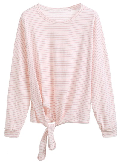 Pink Striped Tie Front T-shirt
