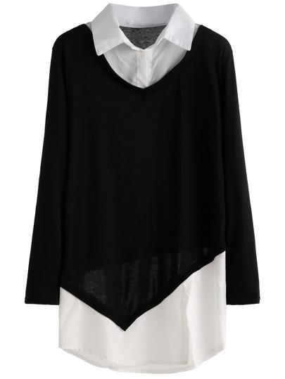 zwei in eins Bluse - schwarz und weiß