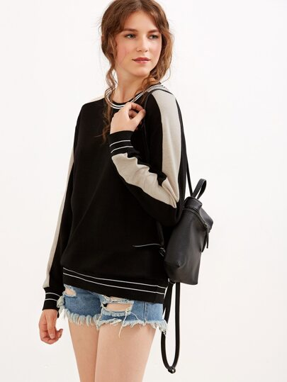 Black Striped Trim Contrast Panel Sweatshirt