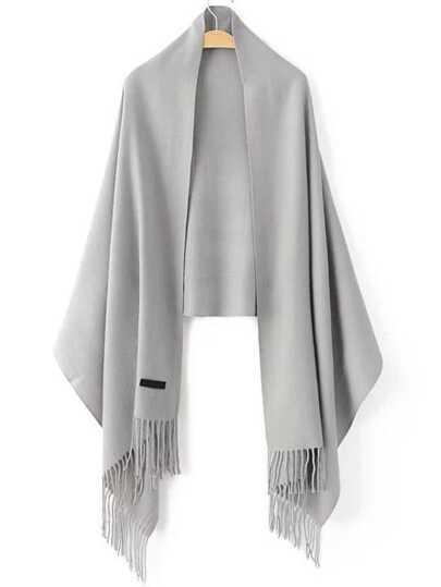 Серый модный шарф с бахромой