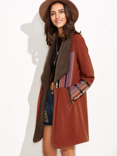 Brown Faux Shearling Collar Coat With Striped Patch Detail