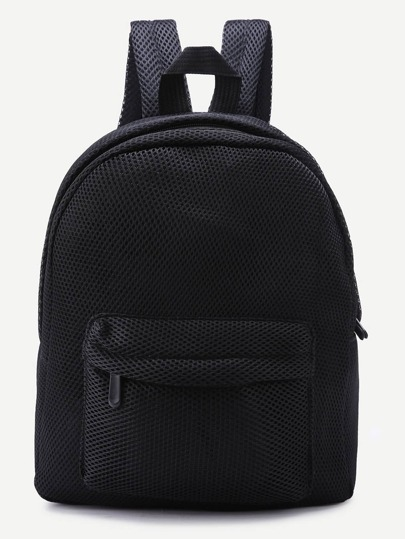 Black Front Zipper Nylon Mesh Backpack