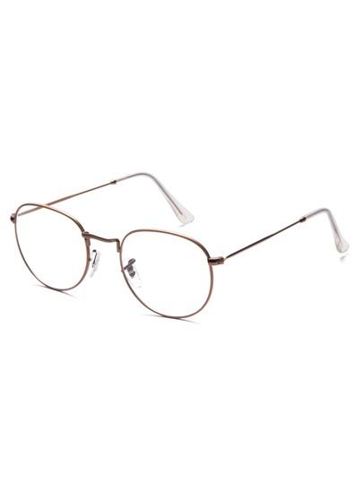 Gafas de sol marco fino lentes transparente - marrón