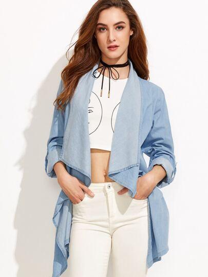 Blue Drape Collar Roll Sleeve Asymmetric Denim Jacket
