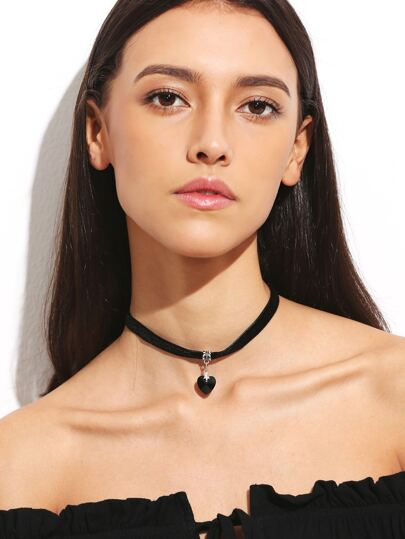 Black Velvet Heart Pendant Choker Necklace