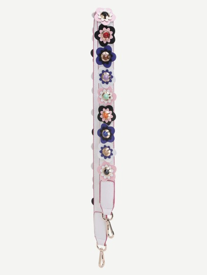 White PU Floral Studded Shoulder Strap