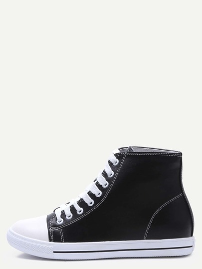 Black Faux Leather Rubber Sole High Top Sneakers