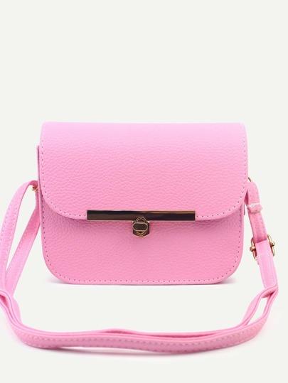Pink Pebbled PU Flap Shoulder Bag