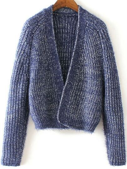 Blue Collarless Open Front Raglan Sleeve Cardigan