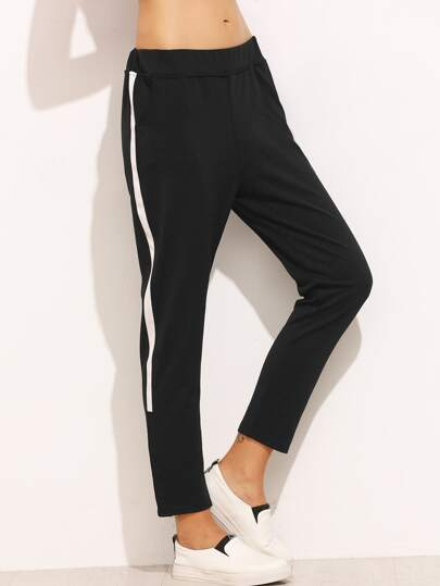Black Stripe Side Sweat Pants