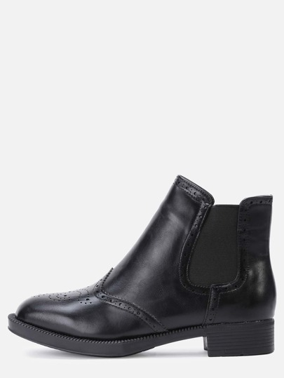 Black Wingtip Faux Leather Elastic Ankle Boots