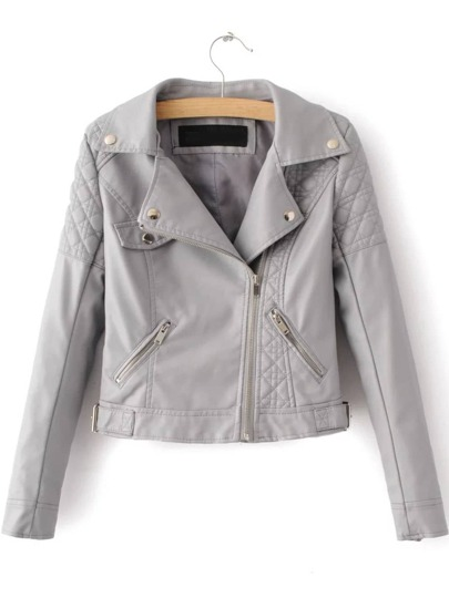 Grey Textured Detail PU Jacket With Zipper