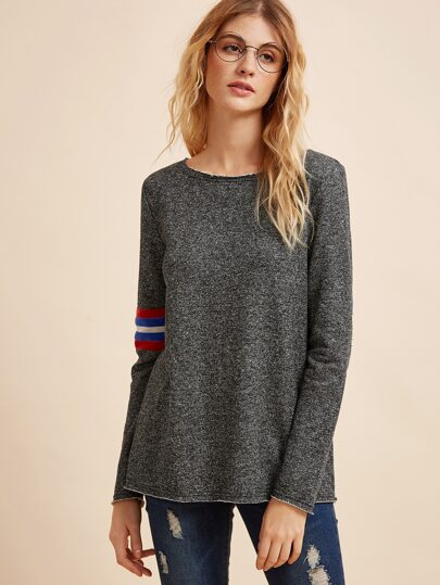 Grey Striped Trim Long Sleeve T-shirt