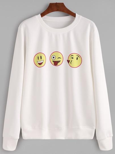 White Emoji Print Sweatshirt