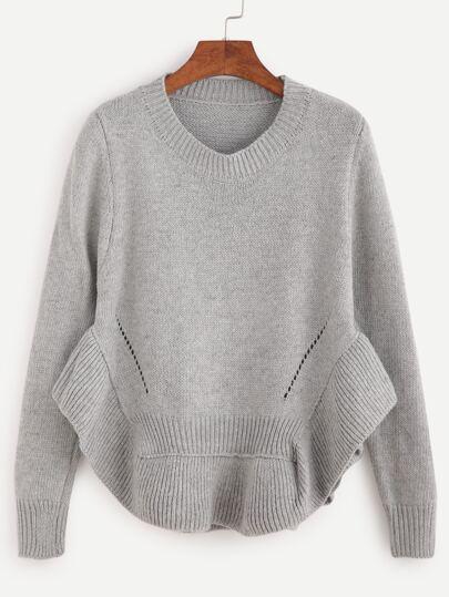 Grey Ruffle Hem Eyelet Sweater