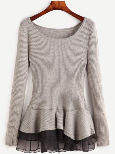 Contrast Tiered Hem Ribbed Sweater