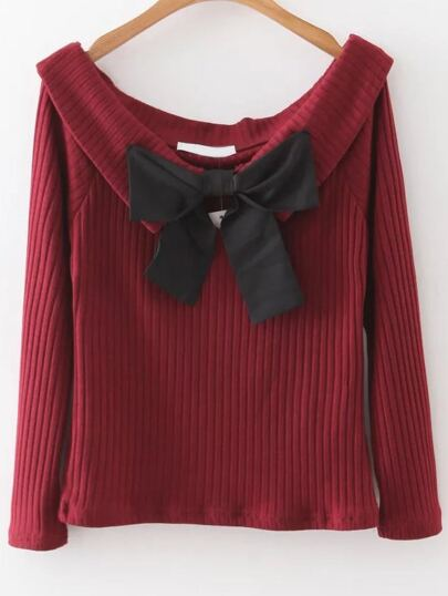 Red Boat Neck Ribbed Sweater With Bow