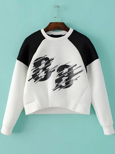 White Color Block Number Print Sweatshirt