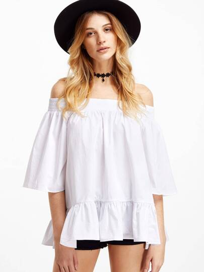 White Off The Shoulder Bell Sleeve Peplum Top