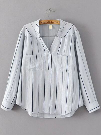 Light Blue Vertical Striped Dip Hem Blouse