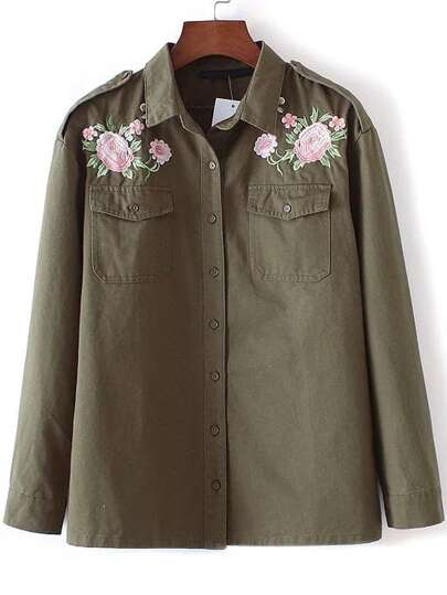 Army Green Flower Embroidery Coat With Pockets