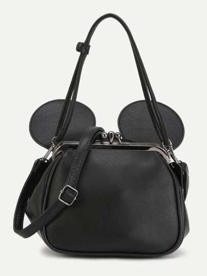 Black PU Metallic Trim Convertible Shoulder Bag With Ear