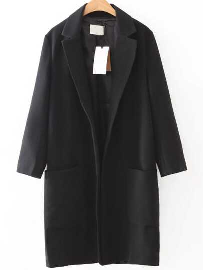 Black Lapel Front Pocket Long Coat