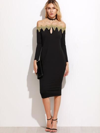 Off The Shoulder Contrast Applique Trim Pencil Dress