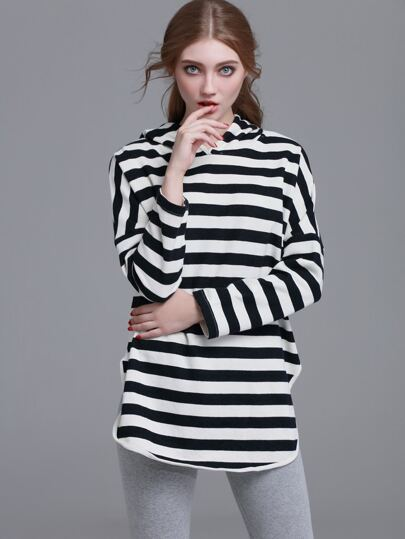 Striped Split Side Hooded Sweatshirt
