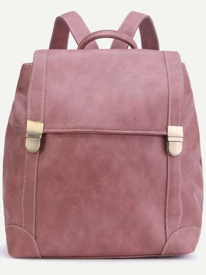 Pink PU Double Buckle Flap Backpack