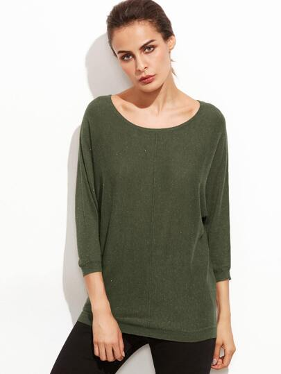 Army Green Scoop Neck Jersey Sweater