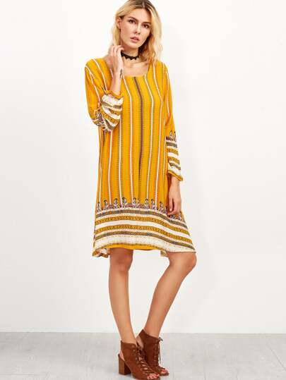 Yellow Mixed Stripe Print Tunic Dress