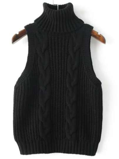 Black Cable Knit Turtleneck Sweater Vest