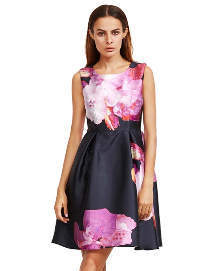 Purple Floral Sleeveless Flare Dress
