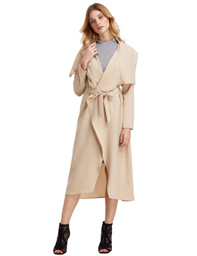 Apricot Draped Collar Duster Coat