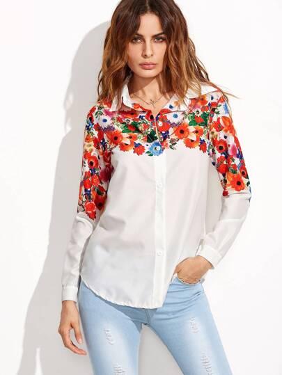 الأبيض الزهور القميص طباعة