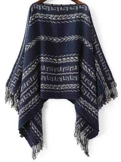 Navy Tribal Pattern Boat Neck Fringe Poncho Sweater