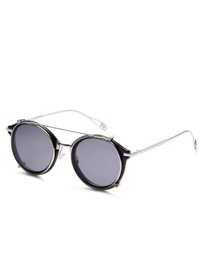 Black Metal Frame Double Bridge Sunglasses