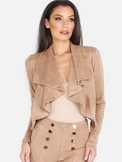 Cropped Suede Lapel Jacket COCOA
