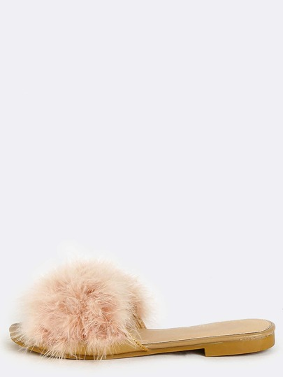 Open Toe Feather Sandals NUDE