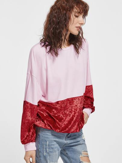 Contrast Mixed Media Drop Shoulder Oversized Sweatshirt