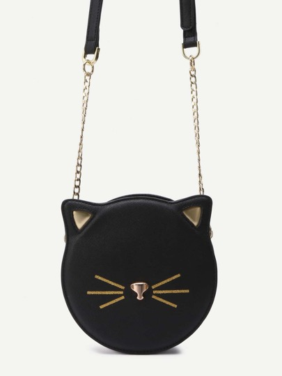 Black PU Round Shaped Zip Closure Crossbody Cat Bag