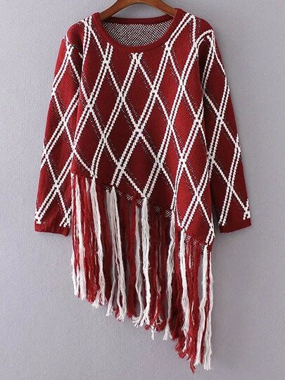 Burgundy Diamond Pattern Fringe Hem Asymmetrical Sweater