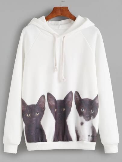 White Cat Print Hooded Sweatshirt