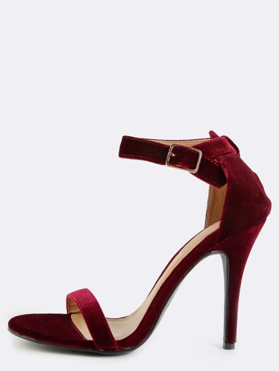 Stiletto Single Sole Ankle Strap Heels BURGUNDY