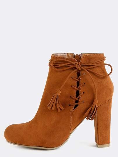 Suede Tassel Lace Up Booties CHESTNUT